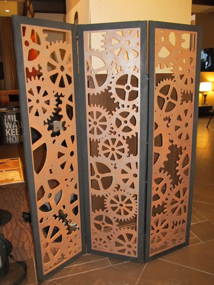 Steampunk Tri-Fold Room Divider (I would do this in 12x12 sections so each section has divisions in it.)