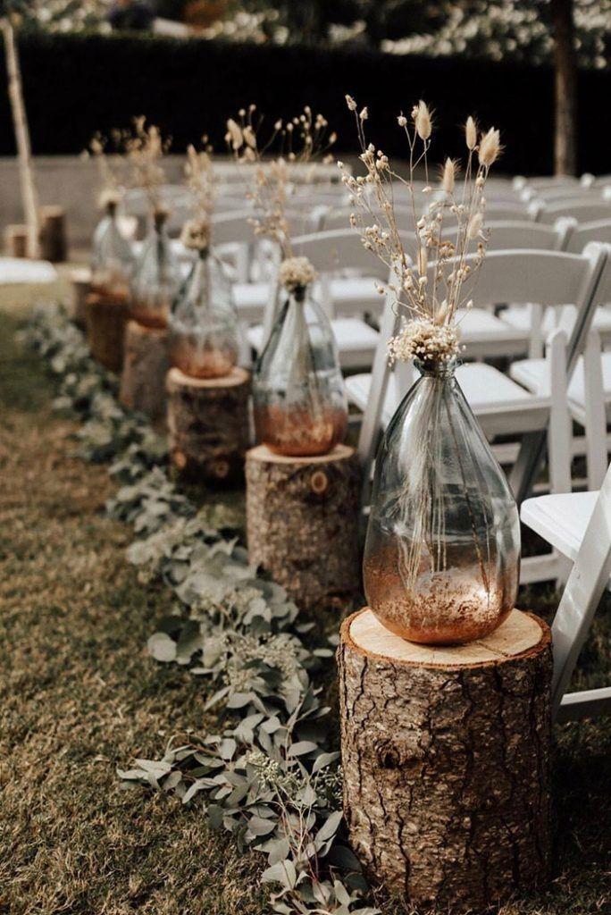 shabby and chic bottles and greenery boho wedding ceremony aisle ideas
