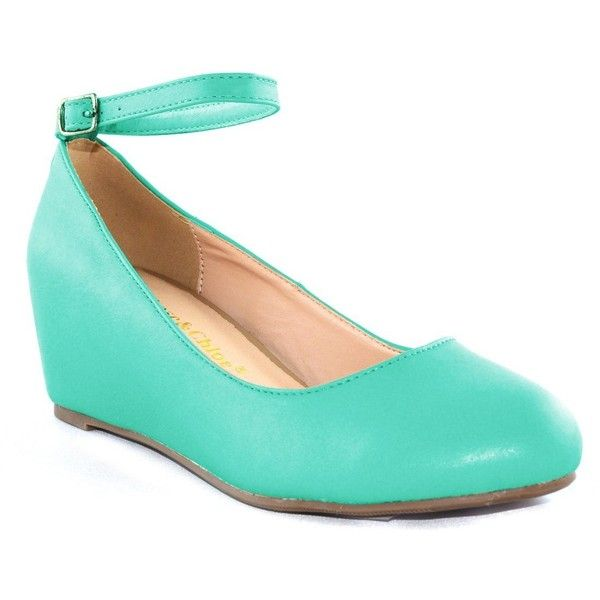 Amazon.com | Chase & Chloe Womens Bobby1 Closed Round Toe Ankle Strap Hidden Wedge High Heel Shoes, Mint, 10 | Pumps featuring polyvore, women's fashion, shoes and pumps