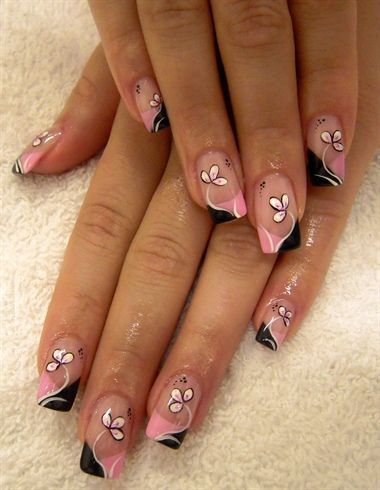 Gel nails with flowers by monka77 - Nail Art Gallery nailartgallery.nailsmag.com by Nails Magazine www.nailsmag.com #nailart