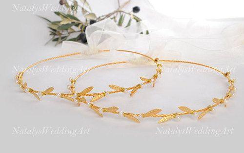 Olive Leaf and Pearl Stefana - Orthodox Wedding Crowns