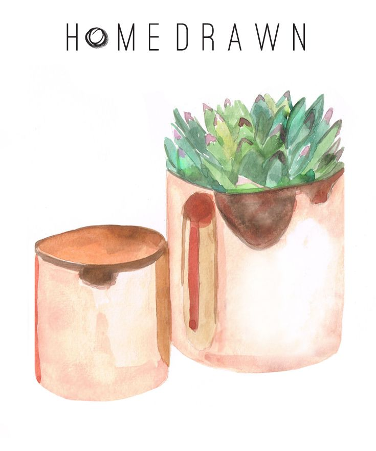 H Skjalm P. Flower Pot Shiny Copper #Scandinavian #designstuff #copper #flowerpot #spring #flowers #cactus #vase #illustration #watercolour #homedrawn