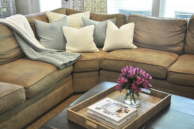 Heather grey sectional. Creme+olive chevron accent pillows, black leather, and brown suede <3
