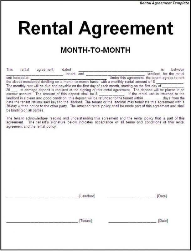 Basic Rental Agreement Fillable Template Room Rental