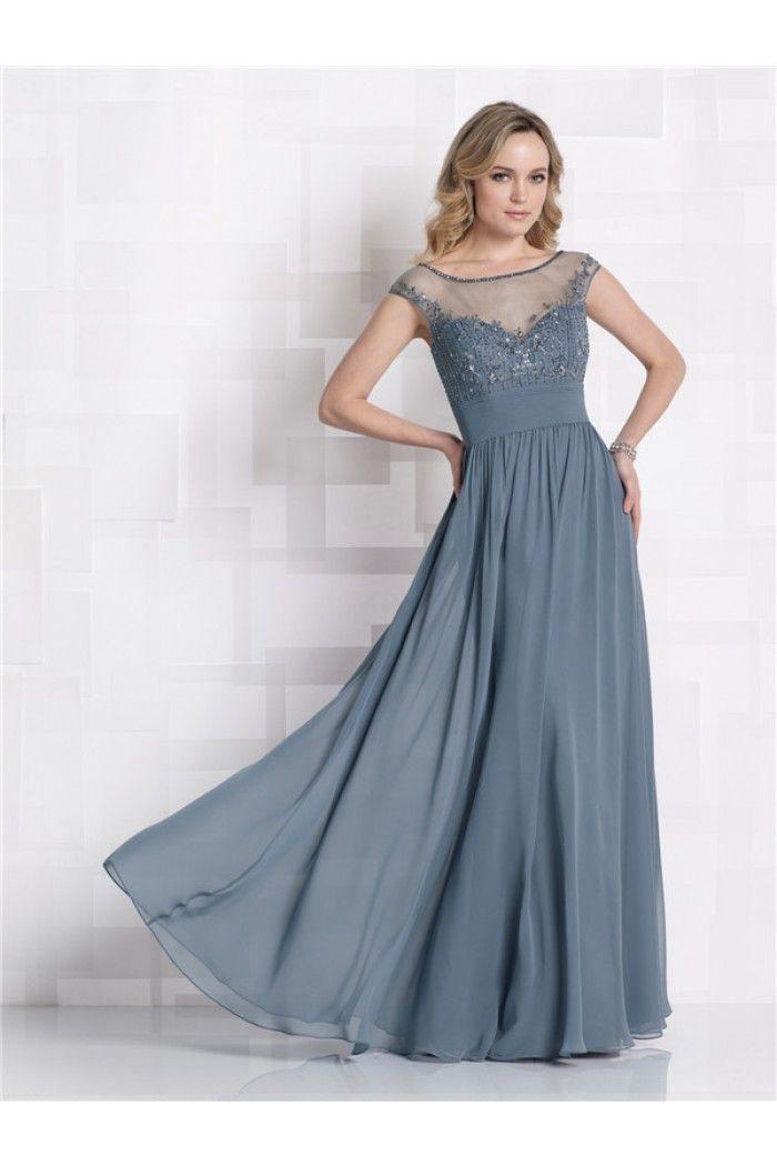 A Line Bateau Illusion Neckline Dusty Blue Chiffon Mother Of The Bride Evening Dress Leah Pinterest And Wedding