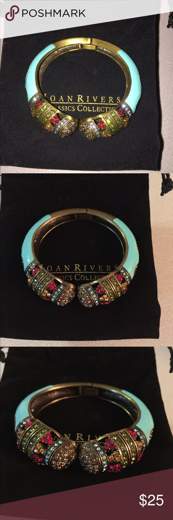 "Joan Rivers Classics Enamel Hinged Bangle Stunning and bold this bangle makes a statement! Antique gold tone, enameled turquoise color with red, orange, blue, green and light brown crystals. Hinged. Fits average size wrist. New and in original box. Measures approximately 3/4"" wide. Joan Rivers Jewelry Bracelets"