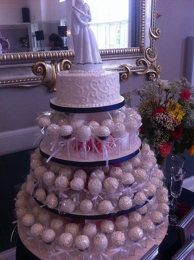 Wedding Cake Pops presented as a tier cake