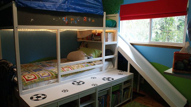IKEA Kura loft / bunk bed with homemade slide (!) and Trofast storage underneath