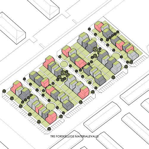 architecture axonometric diagram _ LENDAGER ARKITEKTER | Grønnerækkerne in Taastrup Denmark