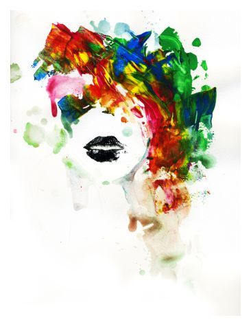 Black Lips Stretched Canvas Print by Lora Zombie at Art.com