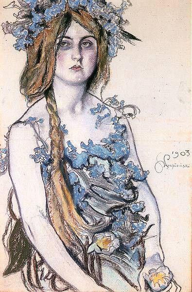 """Portrait of Wladyslawa Ordon-Sosnowska in the role of Krasawica in the drama """"Bolesław the Bold"""" - Stanislaw Wyspianski 1903"""