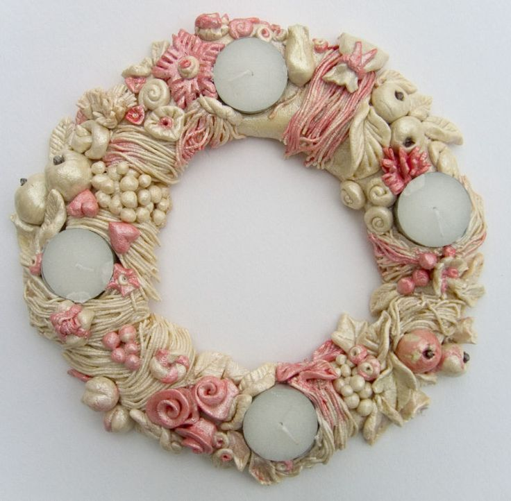 advent wreath from salt dough/like the pearlized look/make small for pendant-w/out the fruit.