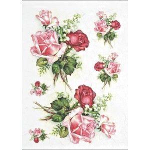 Papír rýžový A4 Růže a konvalinky