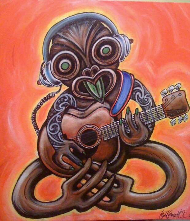 Tiki with a guitar by scottyleesmith awesome fusion of maori art and music.