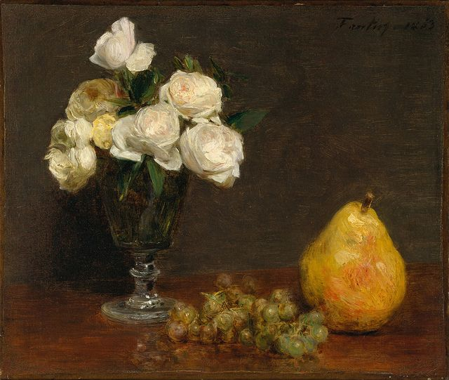 Henri Fantin-Latour 'Still Life with Roses and Fruit' 1863 by Plum leaves, via Flickr