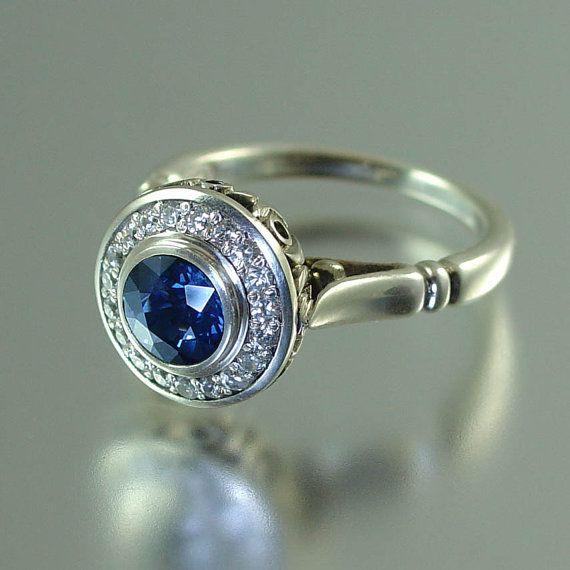 THE SECRET DELIGHT 14k gold Blue Sapphire engagement by WingedLion, $2150.00
