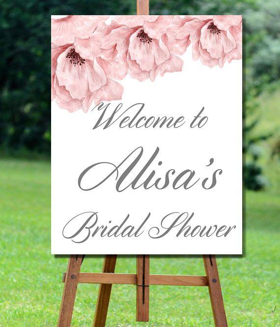 Bridal Shower Welcome Sign Printable, Grey Bridal Shower Sign Printable, Bridal Shower Welcome Sign, Floral Bridal Shower Welcome Sign