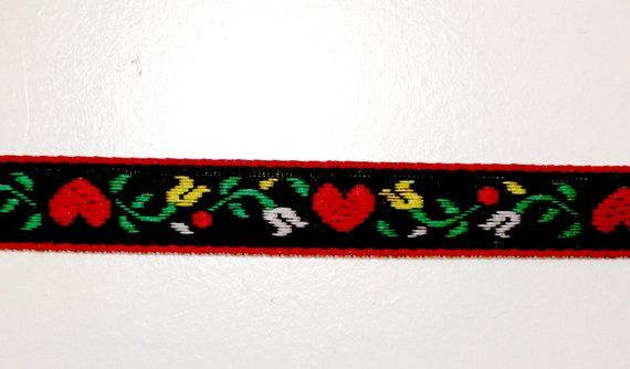 """Offray Ribbon Vintage Style Black with Red Hearts 1//2/"""" 5 Yards Sewing Crafts"""