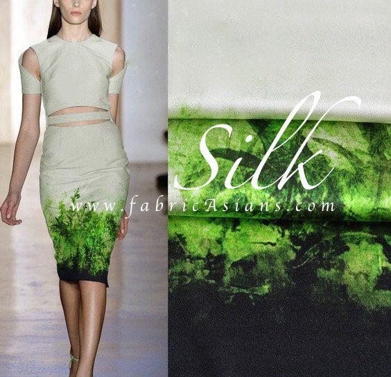 Green Silk Fabric. Stretch silk green leaves and grass 120x125cm. SSD101151