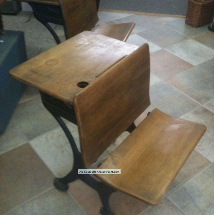 Silent Giant Antique Oak Student School Desk With Cast Iron Base 1900-1950  photo | Our finds | Pinterest | School desks, Desks and Iron - Silent Giant Antique Oak Student School Desk With Cast Iron Base
