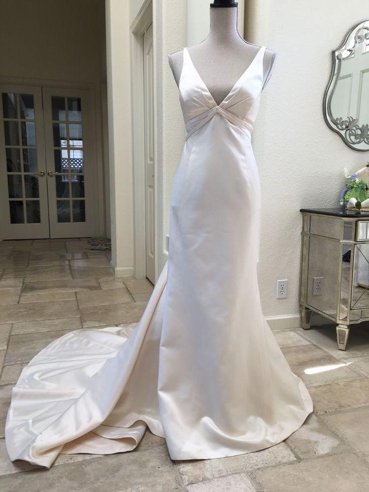 Amy Kuschel wedding gown dress silk v-neck custom 4 to 6 mermaid designer cream