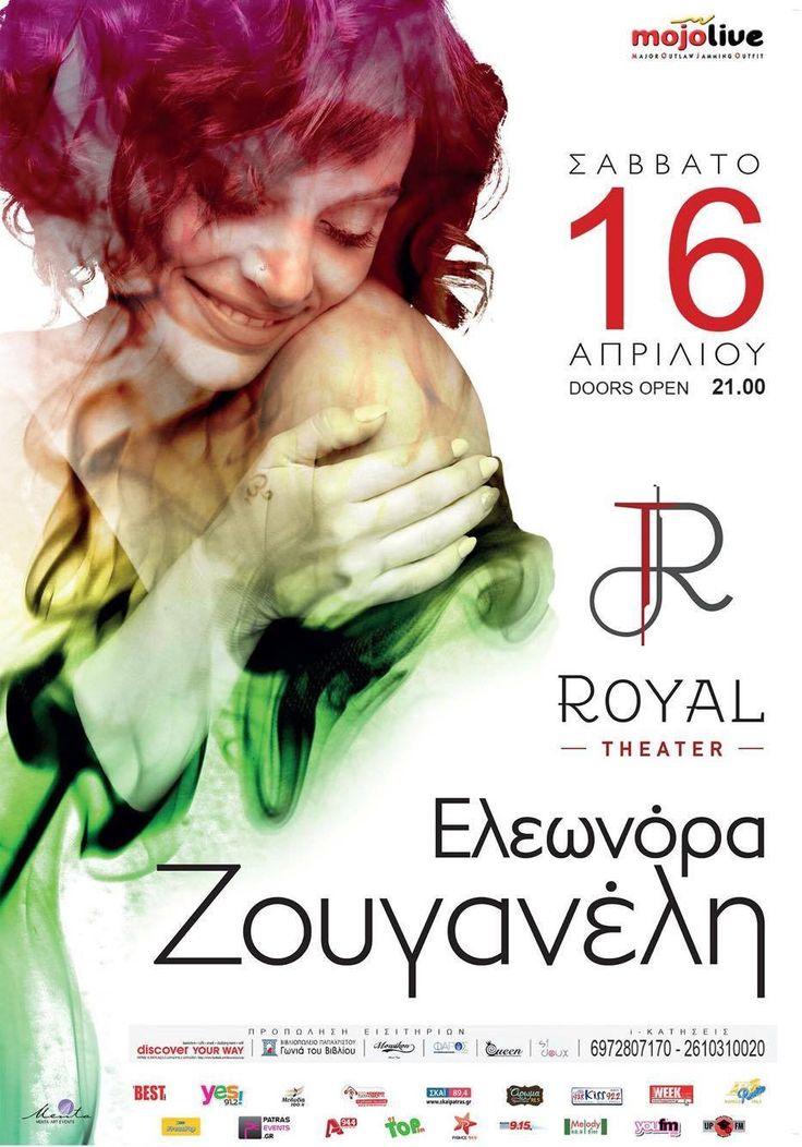Σάββατο 16/4/2016 Royal Theater Patras Η προπώληση εισιτηρίων έχει ξεκινήσει!!! https://www.facebook.com/mojolivepatras/photos/a.297841493654347.58119.241788459259651/833090346796123/?type=3 #eleonorazouganeli #eleonorazouganelh #zouganeli #zouganelh #zoyganeli #zoyganelh #elews #elewsofficial #elewsofficialfanclub #fanclub