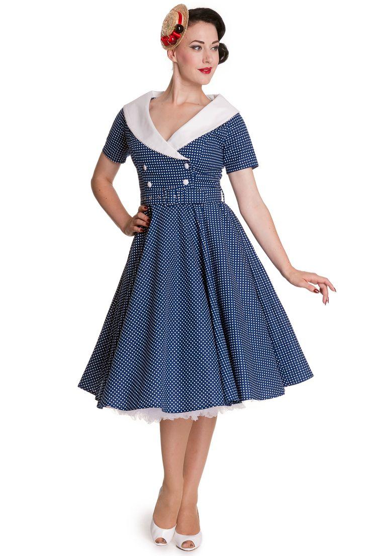 Modré puntíkaté šaty Hell Bunny Claudia Stylové šaty z anglické módní dílny Hell Bunny, které Vám budou slušet na společenské akci, retro večírku, na svatbě. Modrý podklad s drobným bílým puntíkem, bílý šálový límec zdobený po okraji drobnou aplikací tvoří krásný dekolt, tříčtvrteční rukáv, projmutí v pase, sukně od pasu dolů rozšířená. Vpředu dvě řady bílých knoflíků, součástí pásek potažený stejnou látkou, zapínání na zip v zadní části šatů pro snadnější oblékání. Příjemný materiál (100%…