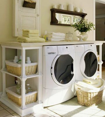 Combine a pair of matching bookshelves with a tabletop or slab of laminate countertop to create a full-service laundry centre   BHG