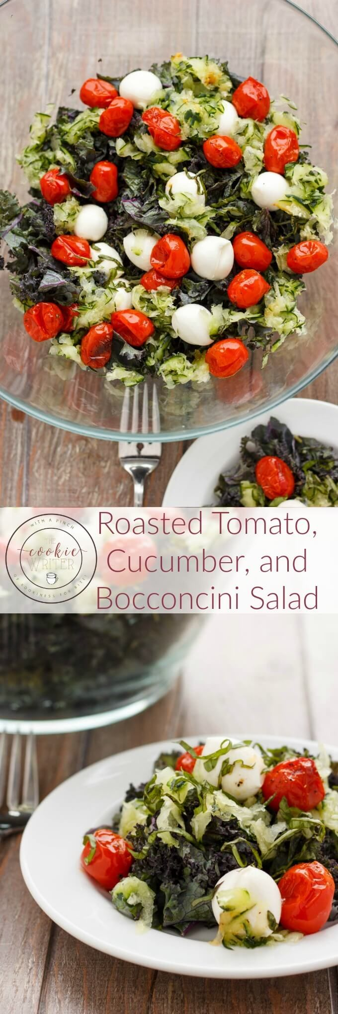 Roasted Tomato, Cucumber, and Bocconcini Salad | http://thecookiewriter,com | @thecookiewriter | #salad | This healthy salad is perfect during the summer, but also a great office lunch during back to school!