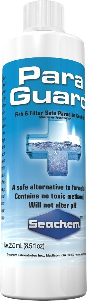 ParaGuard by Seachem is the only fish and filter safe aldehyde based (10% by weight) parasite control product available. It is available in sizes from 100ml to 20 liters to treat from the smallest aquarium or fish bowl to large ponds.