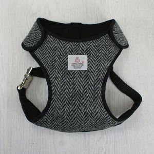 Grey Herringbone Harris Tweed Adjustable Dog Harness - pet clothes & accessories