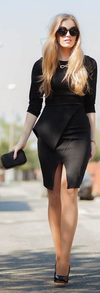 Lady Ceo- czarna Zubienka Black Tailored Bodycon Dress by Marcherry-