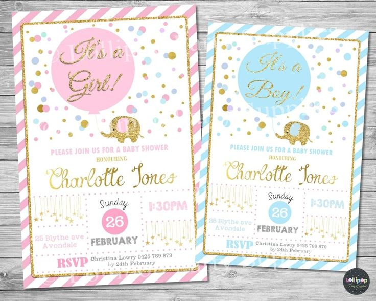 Elephant Baby Shower Invitations - Personalized - Baby Girl - Baby Boy - Printed or Digital - Ship Worldwide!  Contact us today! www.lollipoppartysupplies.com.au