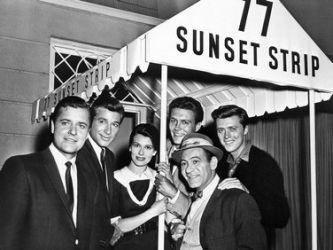 77 Sunset Strip (1958–1964) - Cast and history: http://www.imdb.com/title/tt0051247/  Theme music: http://www.youtube.com/watch?v=weAIhNDn034