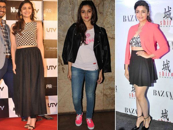 The young and talented Alia Bhatt has already proved that she is a fashionista in her debut film. The 21-year-old Bollywood actress looked nothing less than a Barbie doll in the film Student of the Year by sporting super short skirts, cute head accessories and sexy heels. But, she's a rocker outside the screen too. Alia's style is versatile and mainly feminine, but she doesn't mind going androgynous sometimes. On her birthday today, we bring you some of our favourite Alia ...