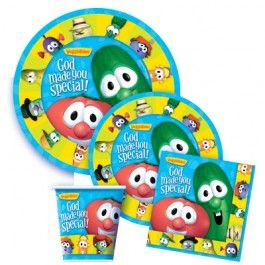 Party Kit 8PK--8 dinner plates, 8 dessert plates, 8 cups & 16 napkins veggietales.com $14.79 (American)