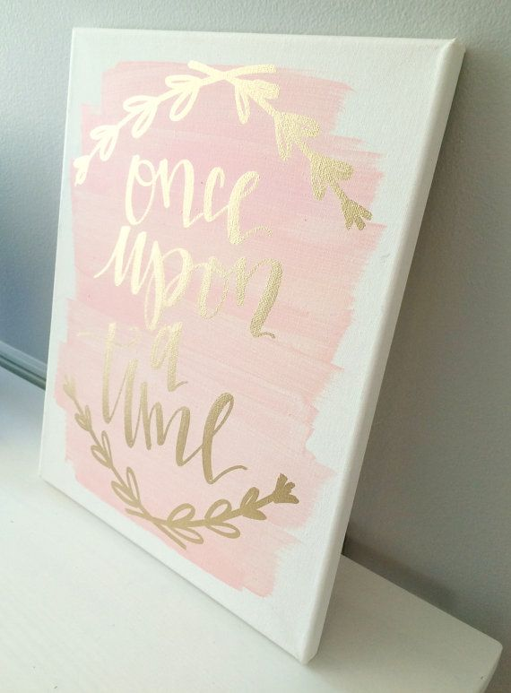 Once upon a time 11x14 canvas sign wedding decor by ADEprints