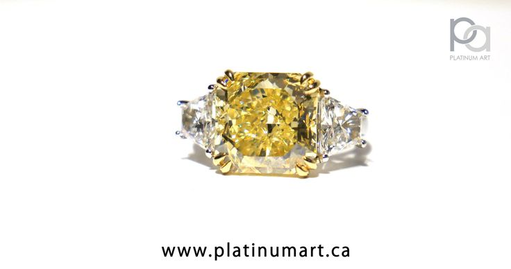Marvel at this beautiful 6.02 Ct Yellow Diamond set with two Trapezoid Diamonds with a total weight of 1.31 Ct. This ring was made from Platinum and the setting for the Yellow diamond was made from 18k Yellow Gold to match. When you want a truly beautiful ring, we deliver. 1-844-787-7348 www.platinumart.ca/contact-us  #fashion #bigring #yellowdiamond #beauty #weddinginspiration #bigring #yellowdiamond #fancyyellow #graff #platinumart #threestonering #superrich #highclass #jewellery