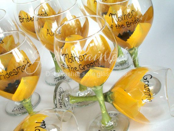 Sunflower Bridal party painted wine glasses set by JudiPaintedit, $269.00