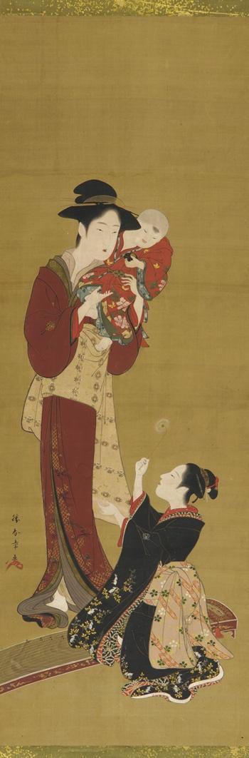 Tattoo Inspiration & Ideas - Japanese Art |  Katsukawa Shunsho - Woman, a baby and a young girl | #Japanese #Art
