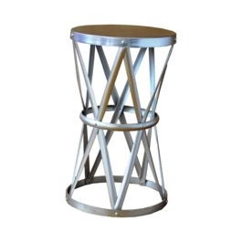 Round Hammered Metal Accent Table