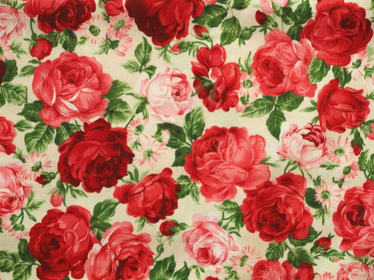Amazing Stoff Blumen Stoff Rosen rot und rosa ein Designerst ck von blockhaus bei DaWanda