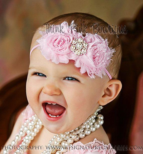 Color de rosa venda del bebé diadema rosa por ThinkPinkBows en Etsy