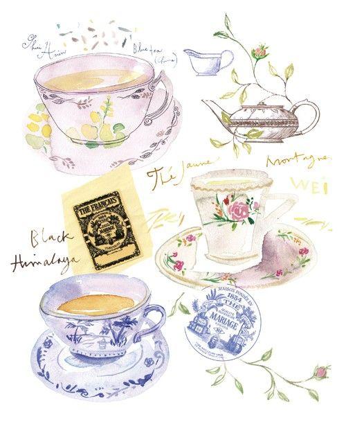 sweet tea cups: Paintings Art, Teas Time, Teas Cups, Art Journals, Portfolio Ideas, Sweet Teas, Teas Art, Food Illustrations, Teas Parties