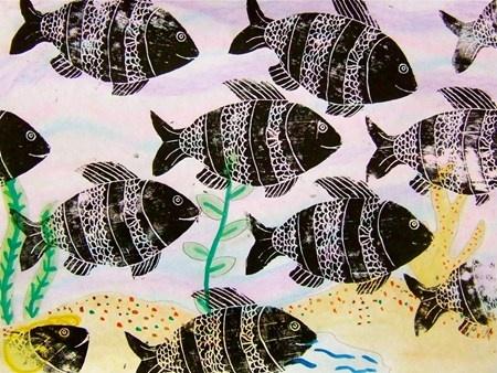Styrofoam fish prints, watercolor background
