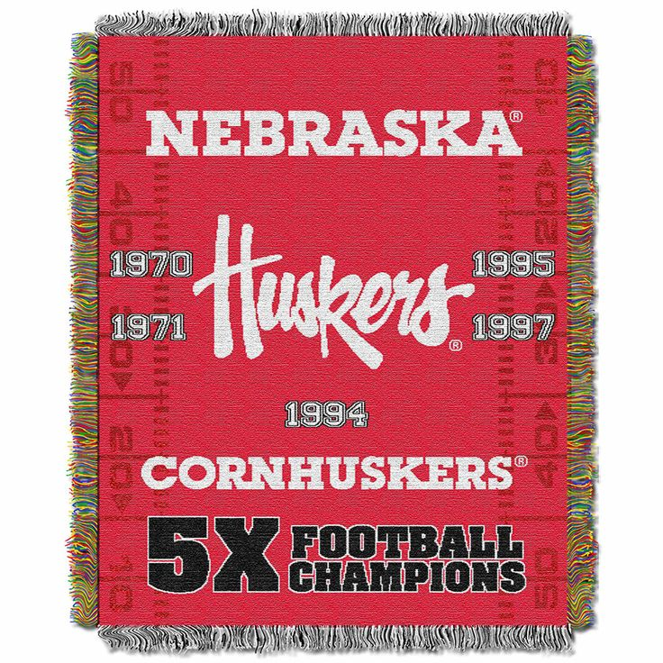 Nebraska Cornhuskers NCAA National Championship Commemorative Woven Tapestry Throw (48x60)
