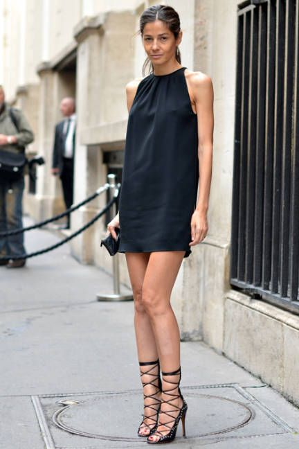 Perfect summer look: Barbara Martelo wearing a halter neck mini dress &