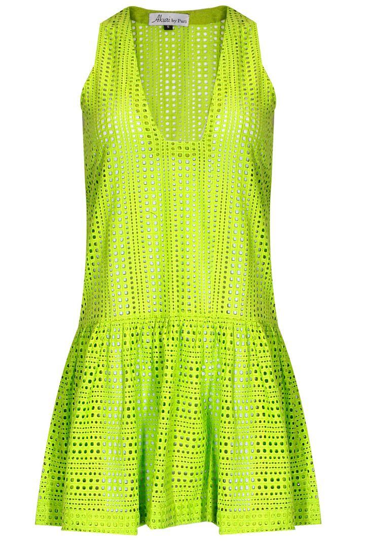 Neon green hakoba beach dress by Akuri by Puri. Shop now: http://www.perniaspopupshop.com/designers/akuri-by-puri #shopnow #perniaspopupshop #akuribypuri