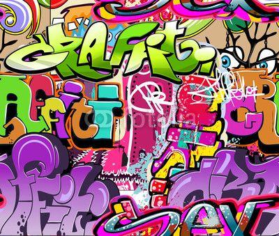 Wektor: Graffiti wall. Urban art vector background. Seamless texture