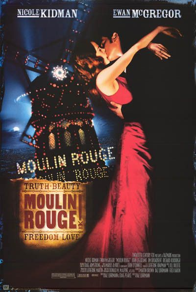 Nicole Kidman and Ewan McGreggor share a kiss in this great Moulin Rouge movie poster! Published in 2001. Fully licensed. Ships fast. 24x36 inches. Need Poster Mounts..? bm6872 av-f1360